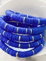 Mod Miss Jewelry Royal Blue Gold Disk Color Pop Bracelet Size 7