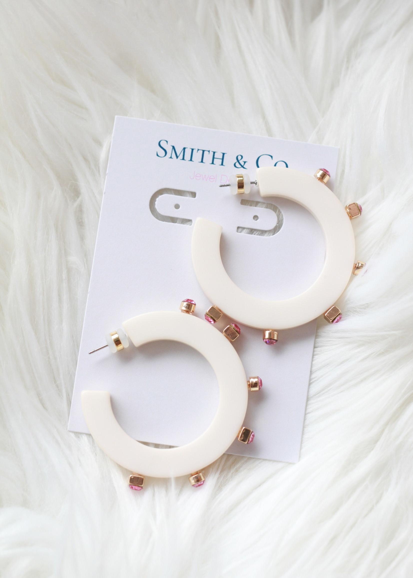 Smith & Co LS City Girl Jewel Hoop Ivory