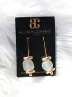 Allison Conway AC Light Green Sea Glass Earrings