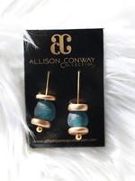 Allison Conway AC Dark Blue Sea Glass Earrings