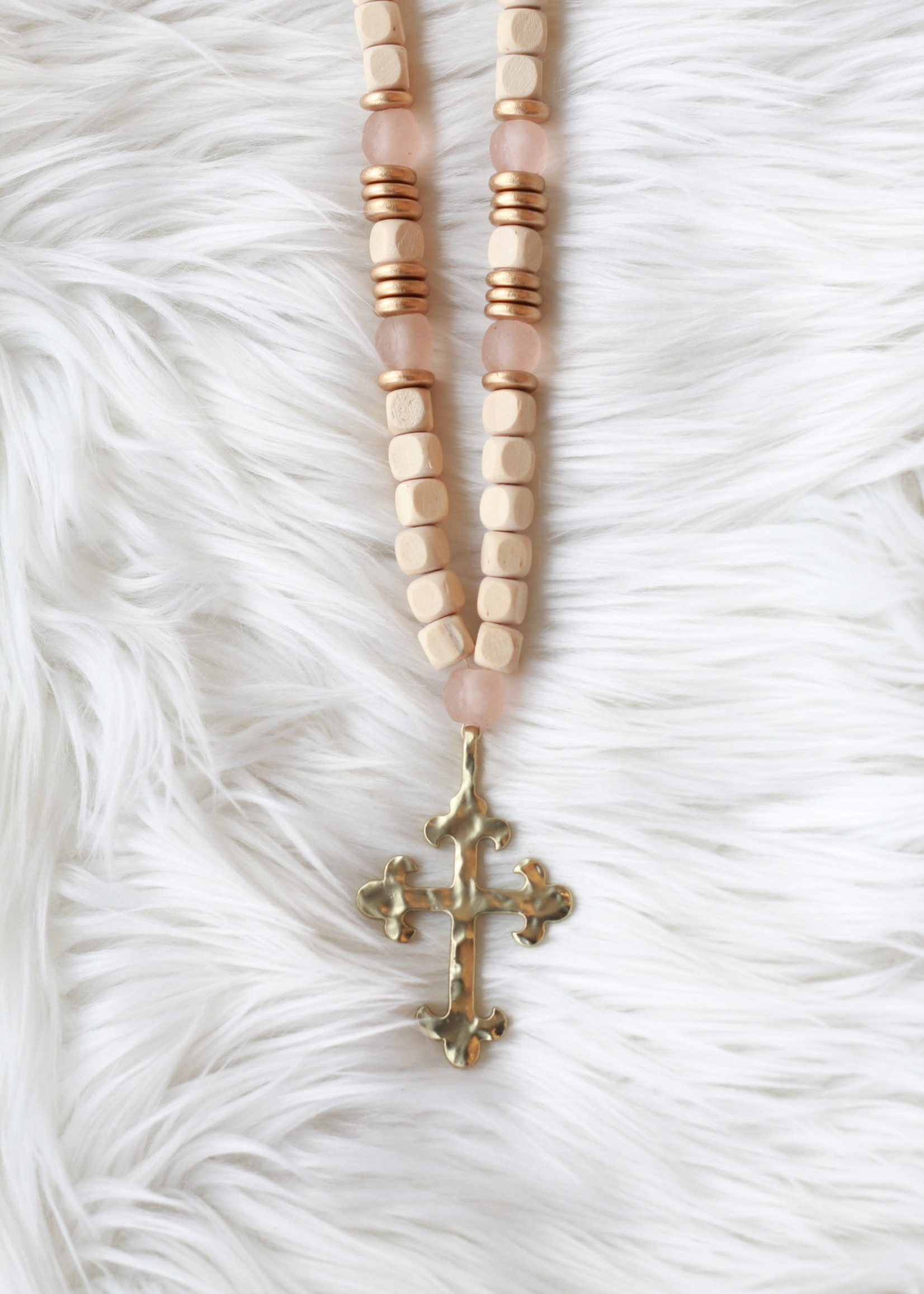Allison Conway AC Pink Sea Glass Southern Gold Cross Long Necklace