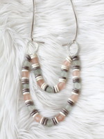 Allison Conway AC Glass & Wood Long Necklace