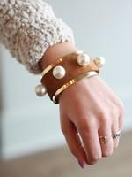 Orijinal Orijinal Pearl Brass Cuff Brown I