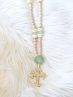 Allison Conway AC Green Sea Glass Cross Necklace