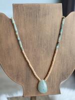 Erin McDermott Wooden Beaded Stone Necklace