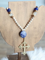 Allison Conway AC Sea Glass Blue & Green Cross Necklace