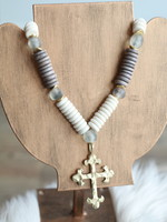 Allison Conway AC Gray Beaded Cross Necklace