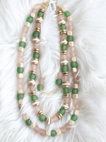 Allison Conway AC Triple Layer Green & Pink Sea Glass Necklace