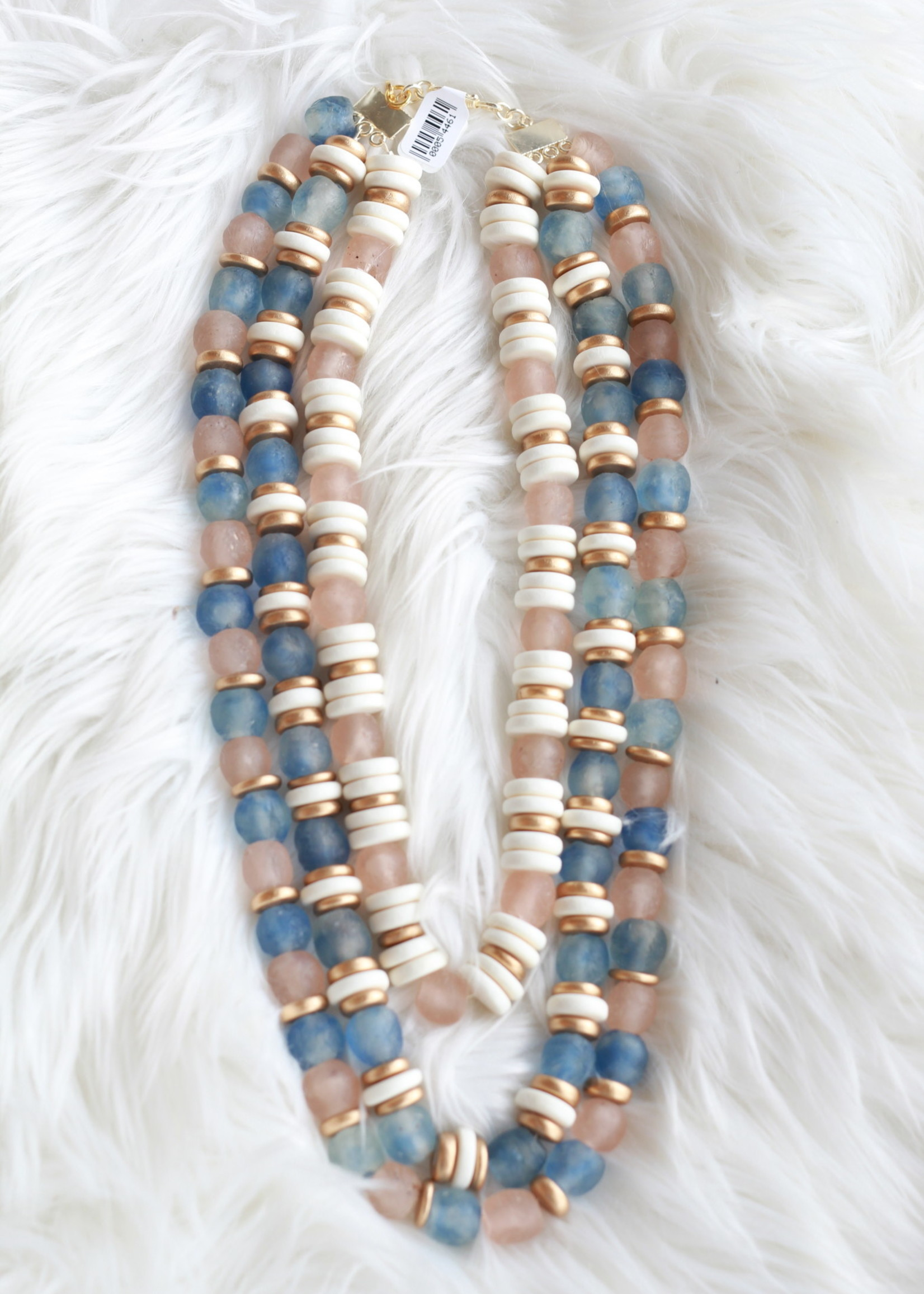 Allison Conway AC Triple Layer Blue & Pink Sea Glass Necklace