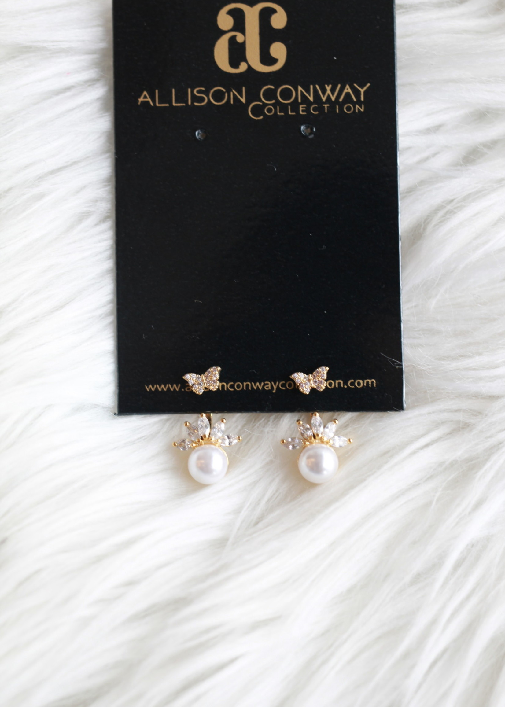 Allison Conway AC Tiny Butterfly Pearl Earrings