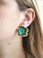 Pink Reef Pink Reef Emerald & Blue Hand Cut & Painted studs