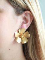 Pink Reef Pink Reef Large Gold Flower Earrings