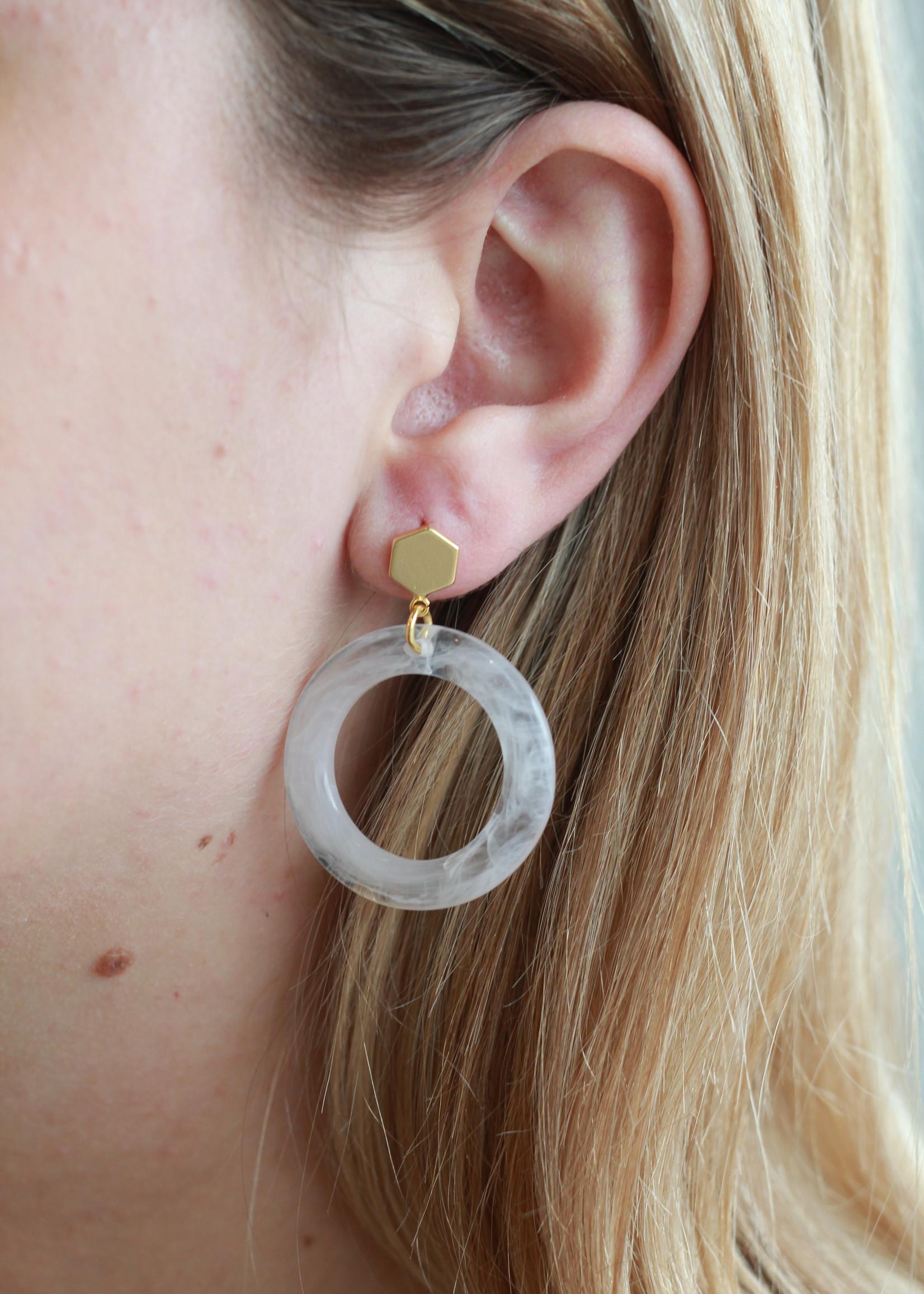 Allison Conway AC White Acrylic Hoop Dangle Earrings