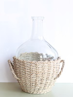 Glass Bottle in Woven Seagrass Basket