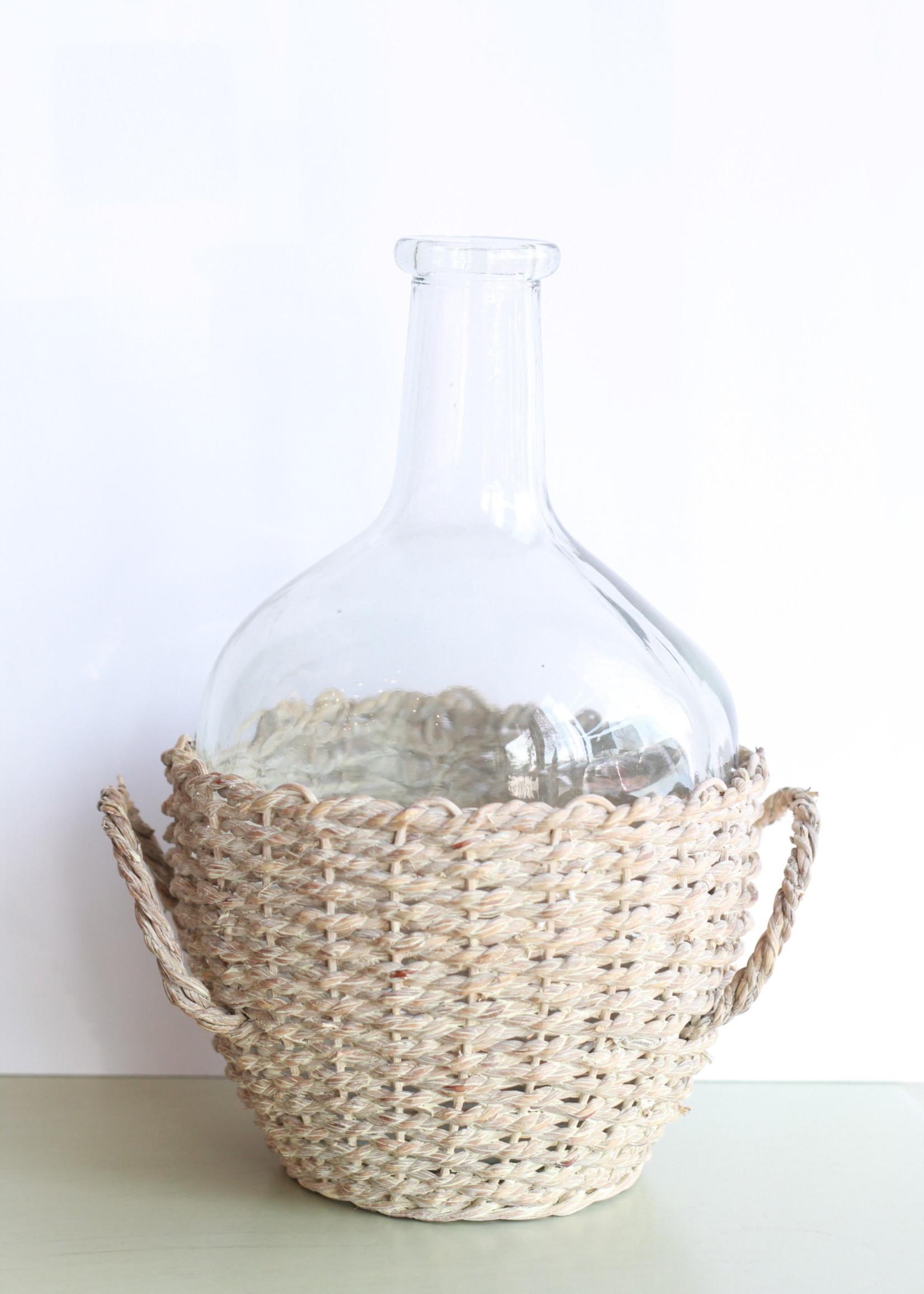 Glass Bottle in Woven Seagrass Basket