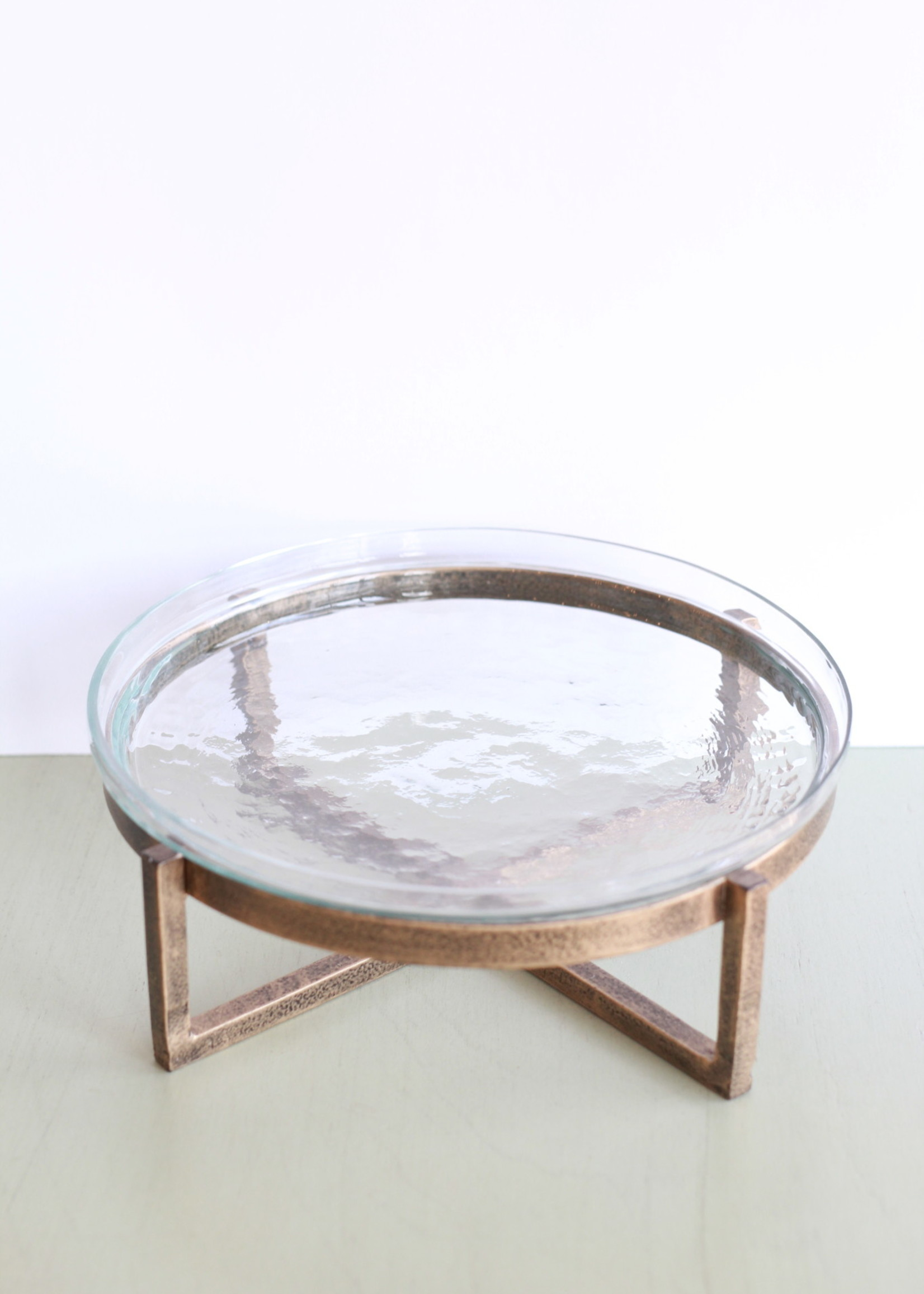 Glass Serving Tray With Metal Stand