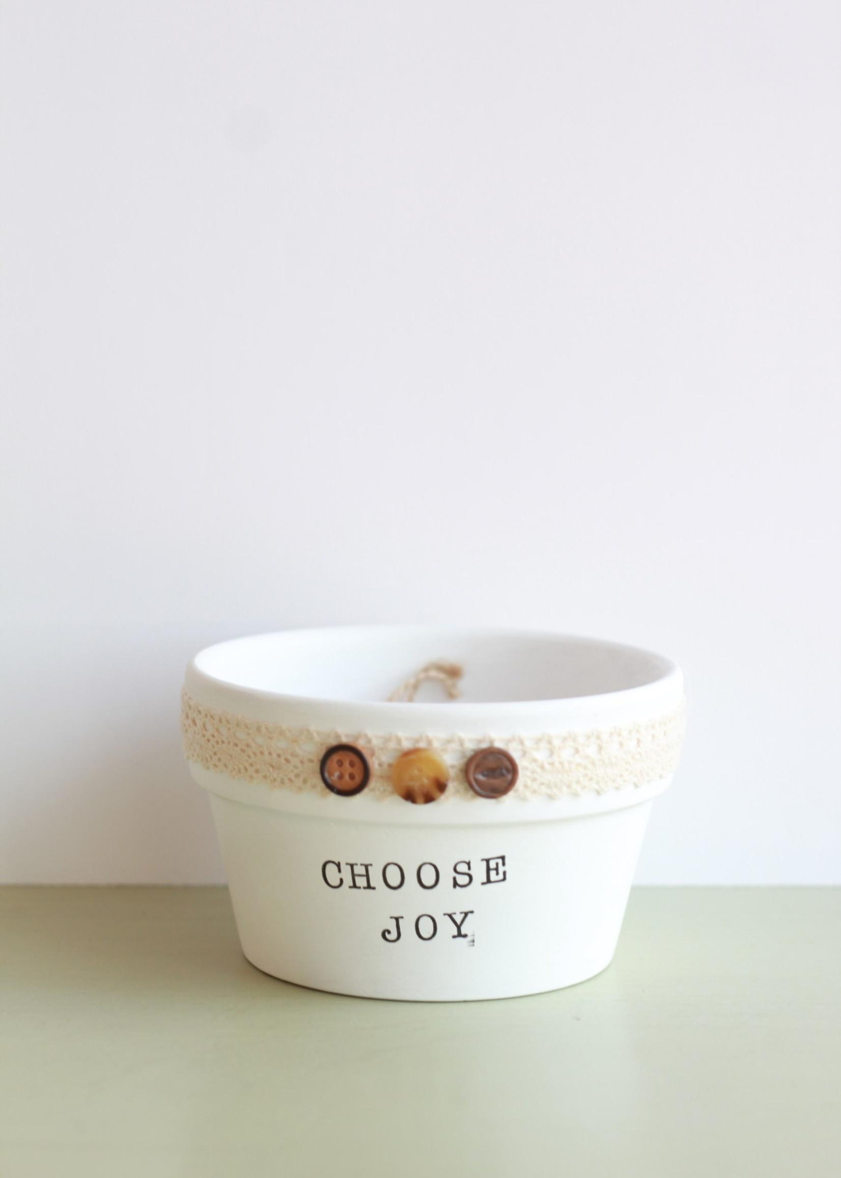 Terracotta Gal Choose Joy Tiny Shallow Planter