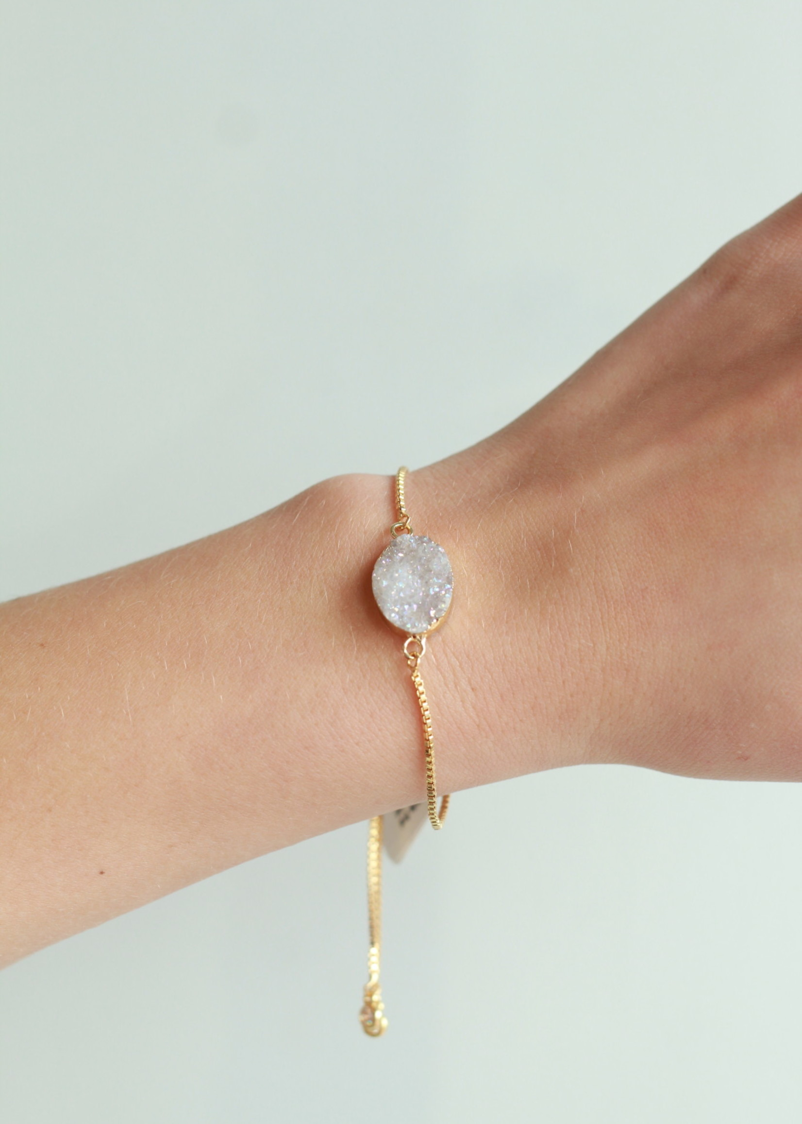 Allison Conway AC White Oval Druzy Bracelet