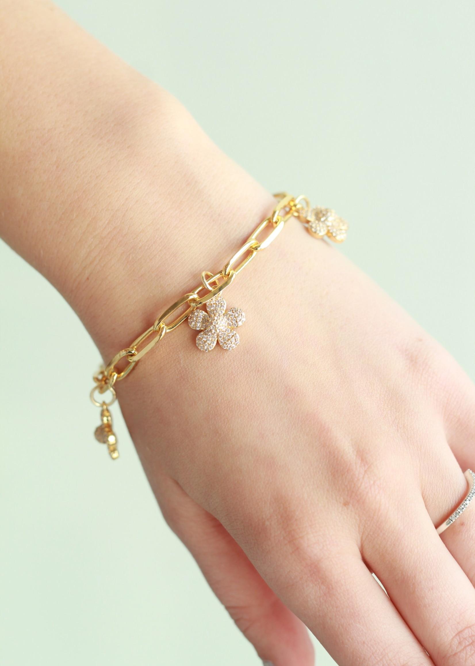 Allison Conway AC Gold Daisy Charm Bracelet
