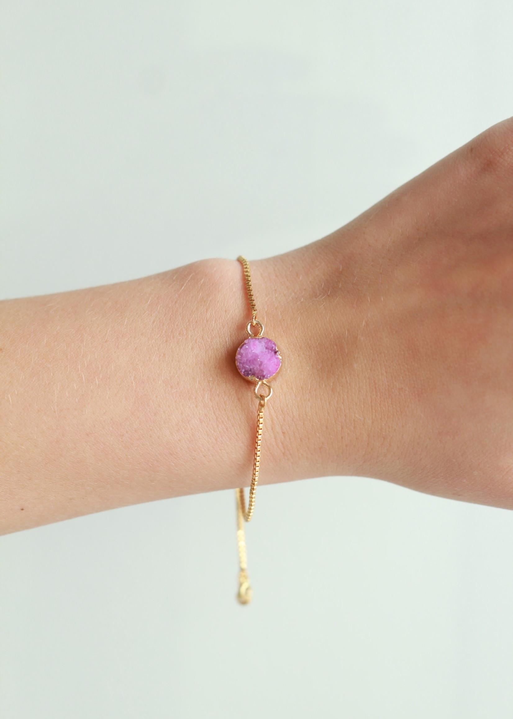 Allison Conway AC Bright Pink Druzy Bracelet