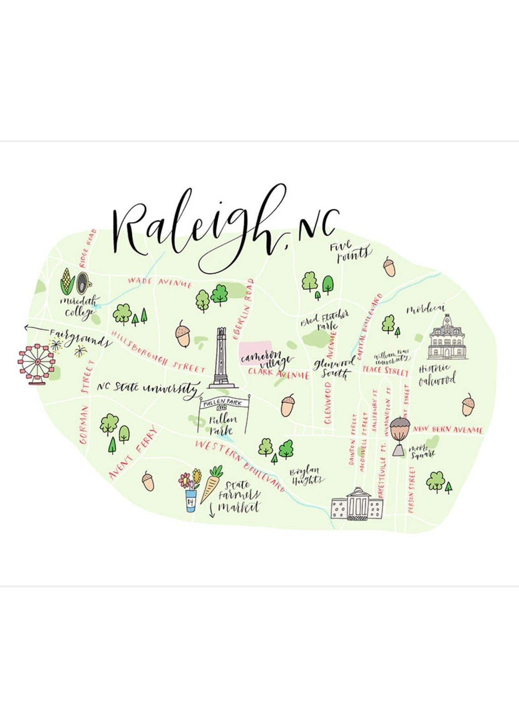 Happy Tines Happy Tines Raleigh Map Downtown 5x7
