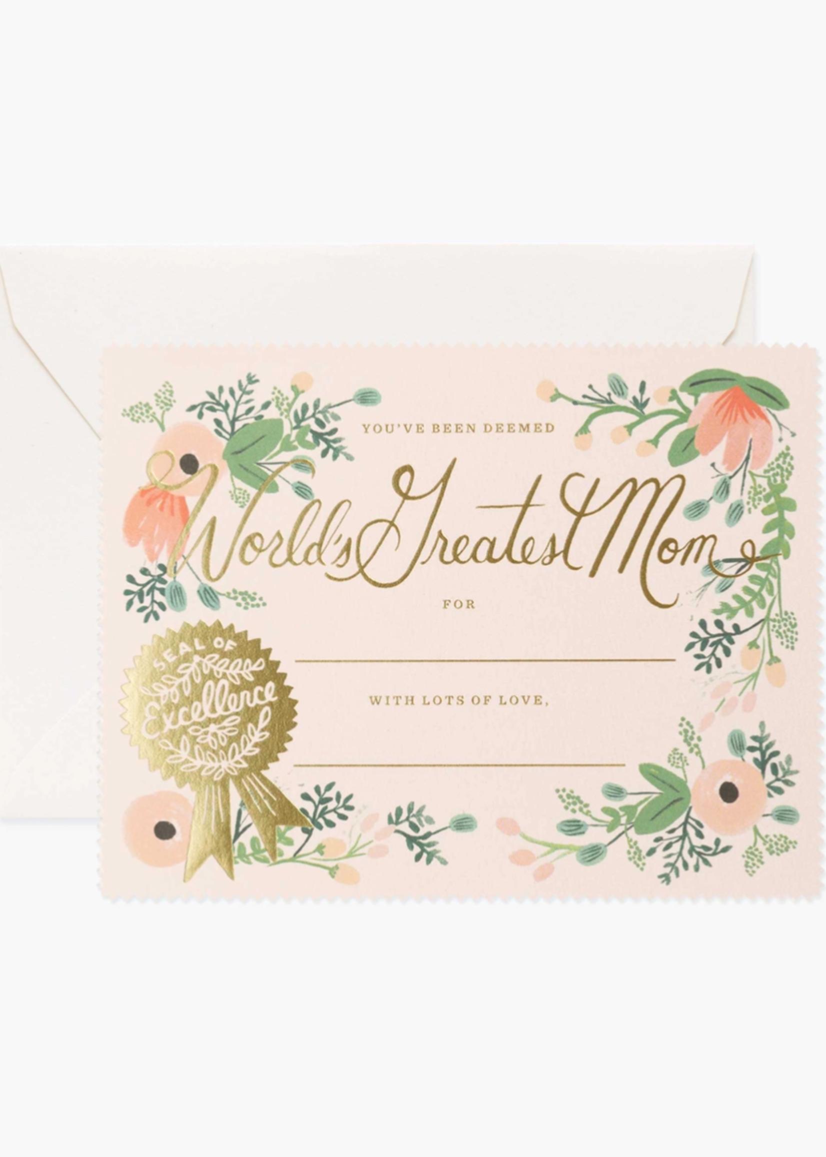 Greatest Mom Certificate Card
