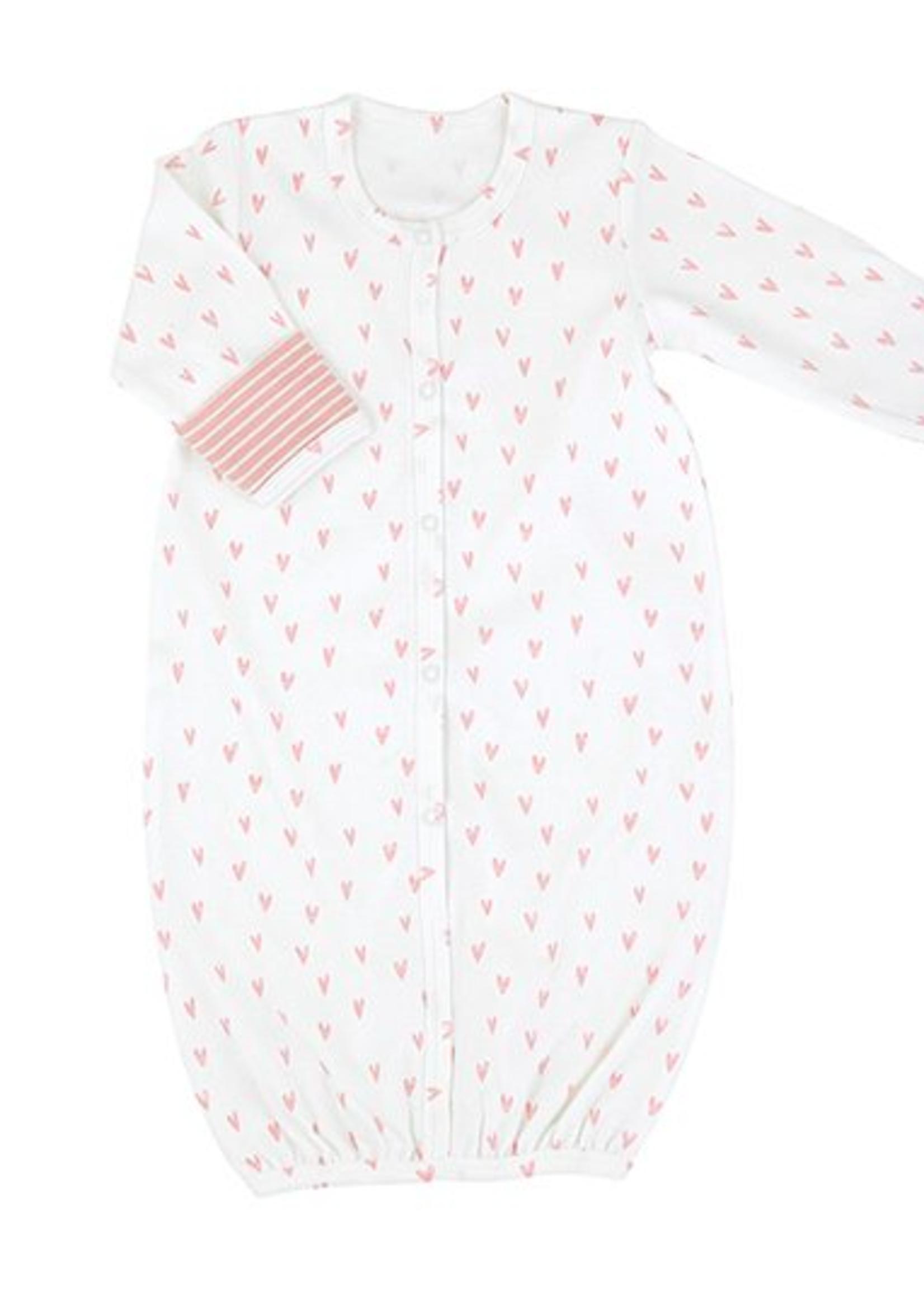 Pink Heart Stripe Gown Newborn