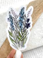 Elyse Breanne Design Blue and Purple Watercolor Floral Stems Sticker