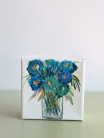 BJ Weeks BJ Weeks Floral 4x4 Paintings  Blue II
