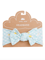 Gingham Daisy Headband Green 0-12m