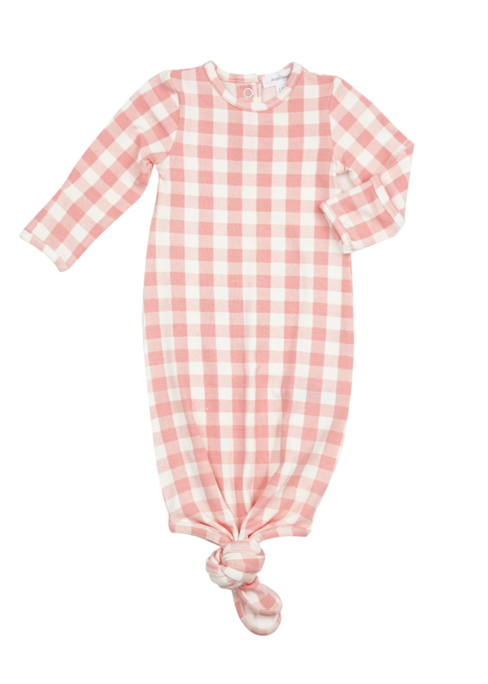 Gingham Knotted Gown Pink 0-3m