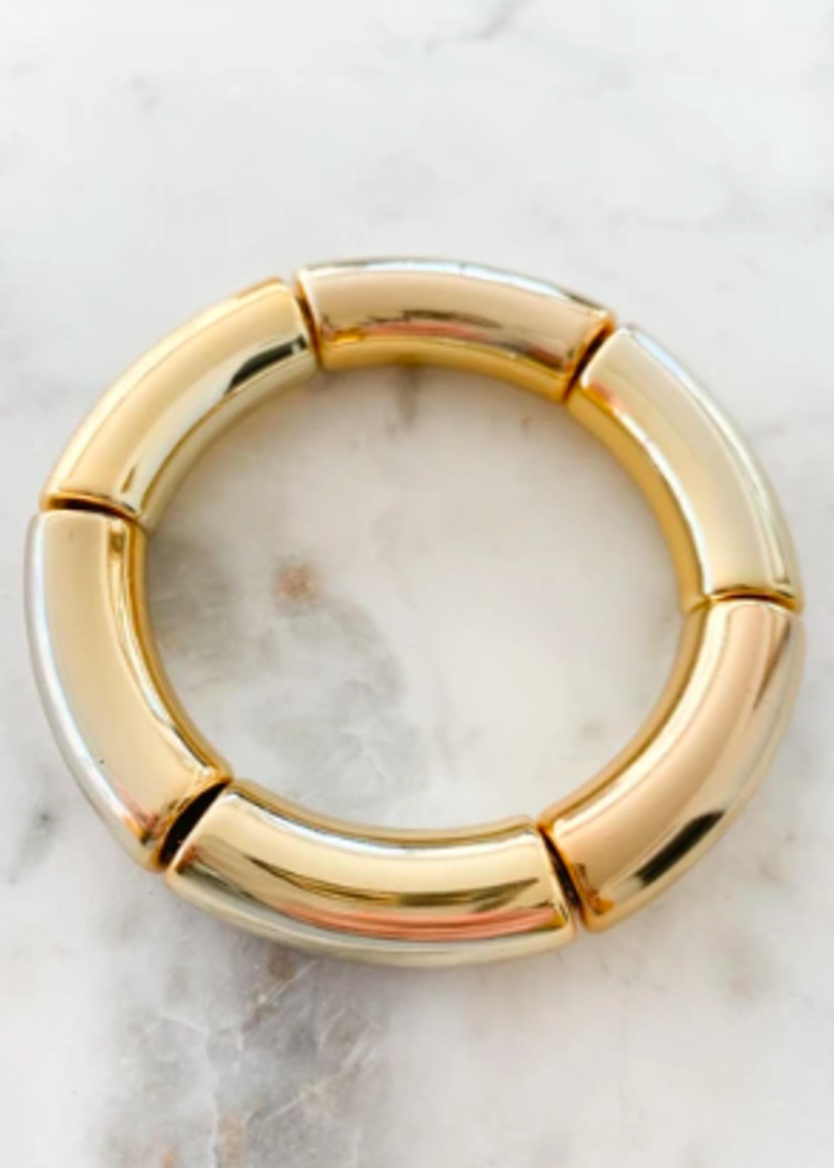 Mod Miss Jewelry All Gold Acrylic Bamboo Bangle Bracelet Size Small