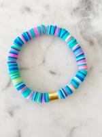 Mod Miss Jewelry Aqua Rainbow With Gold Disc Color Pop Bracelet Size Medium