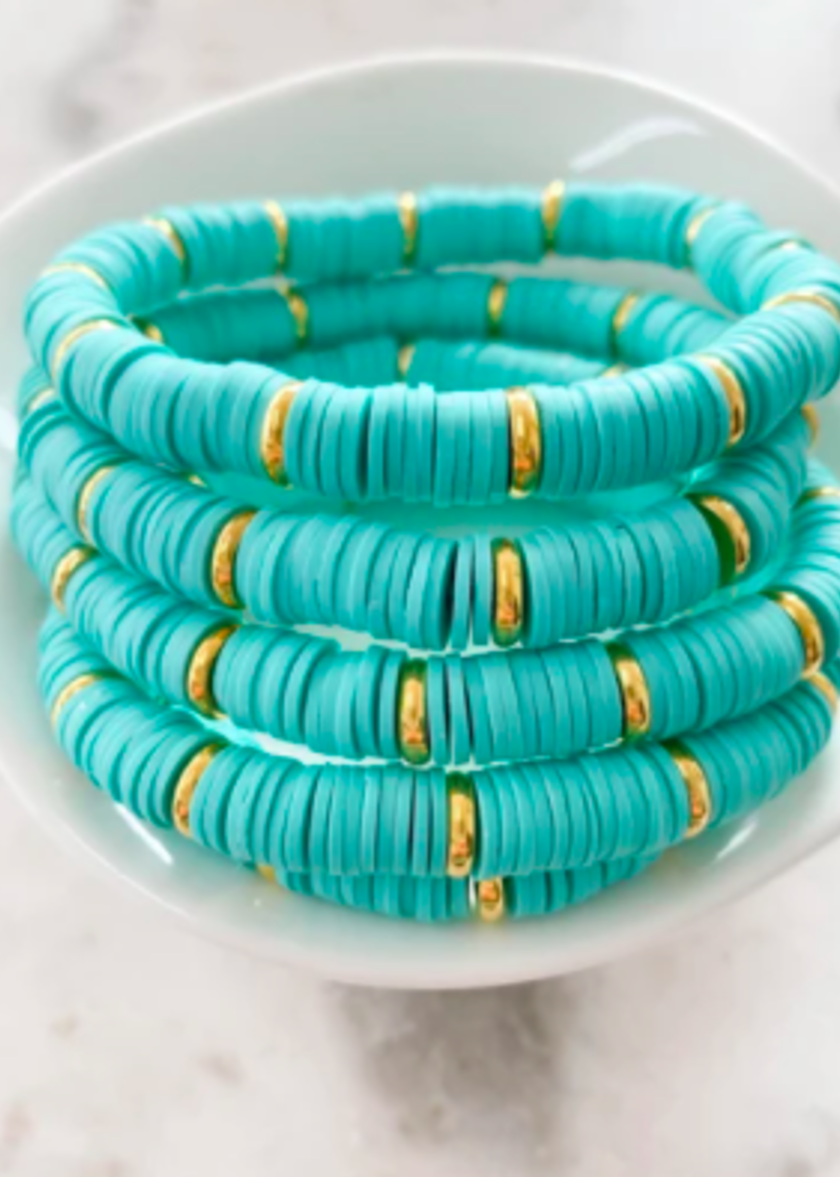 Mod Miss Jewelry Turquoise Gold Disc Color Pop Bracelet Size Small