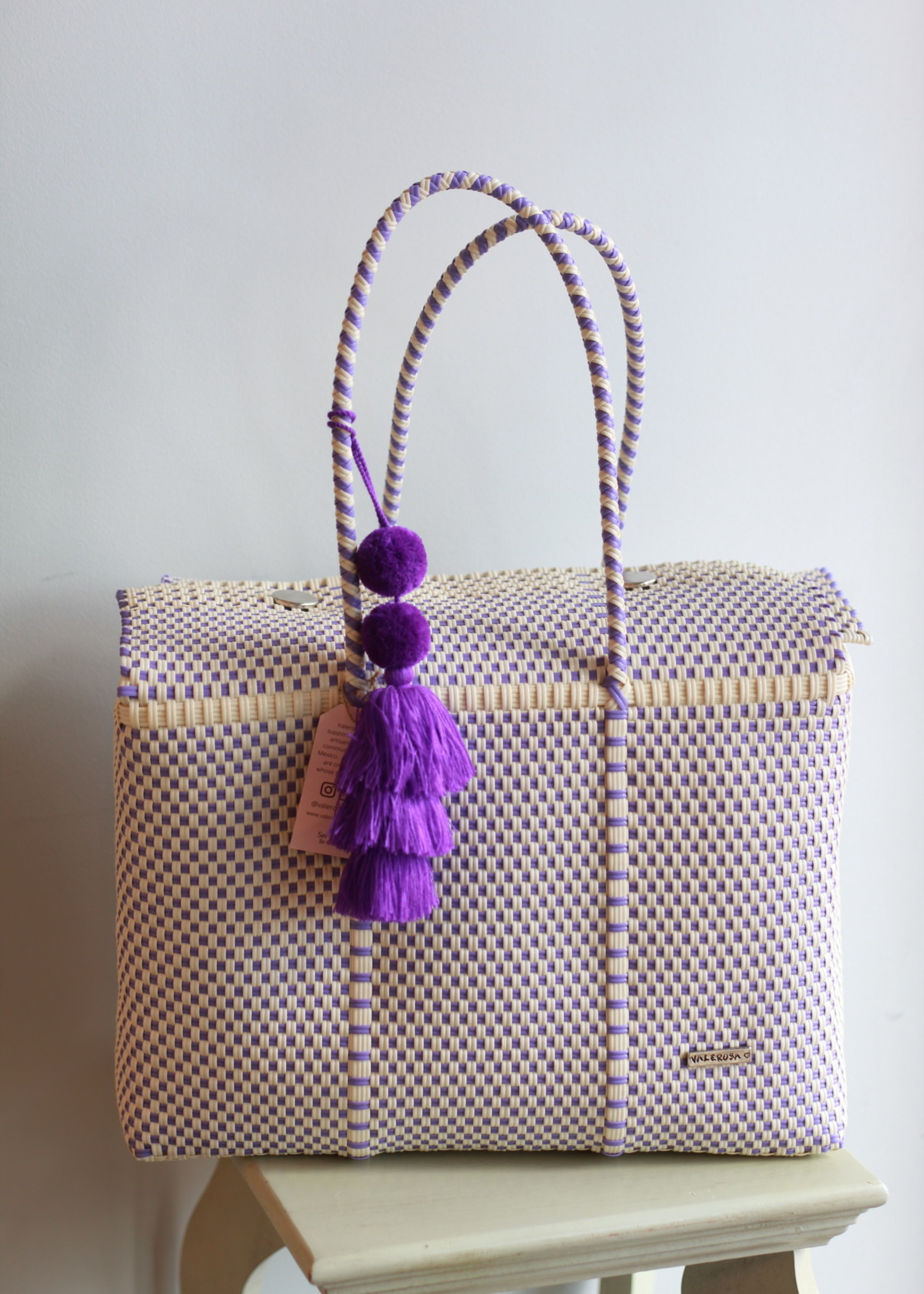 Valerosa Boutique Shades of Lavender Dia Duffle Bag With Purple Tassle