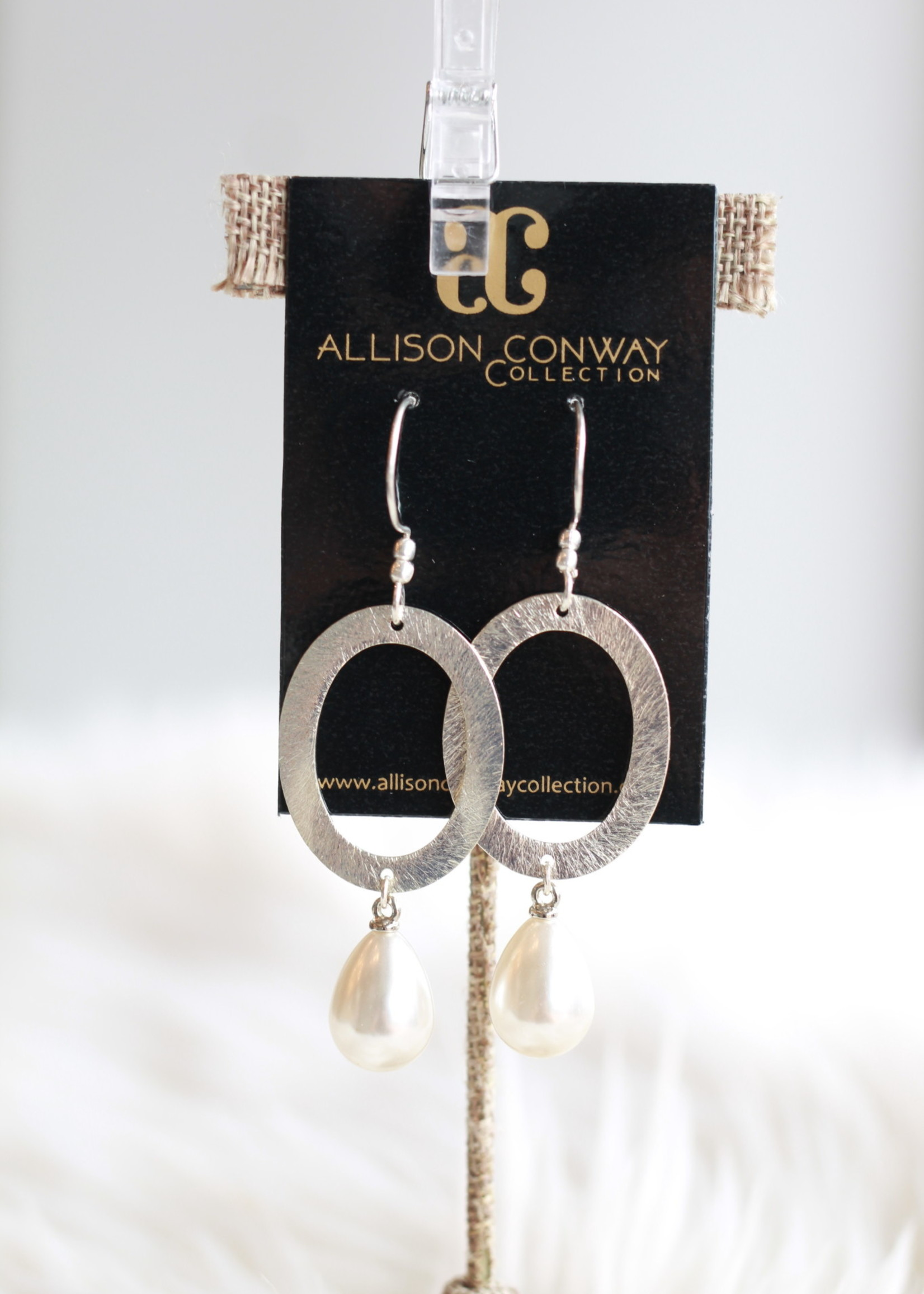 Allison Conway AC Silver Oval With Pearl Earrings