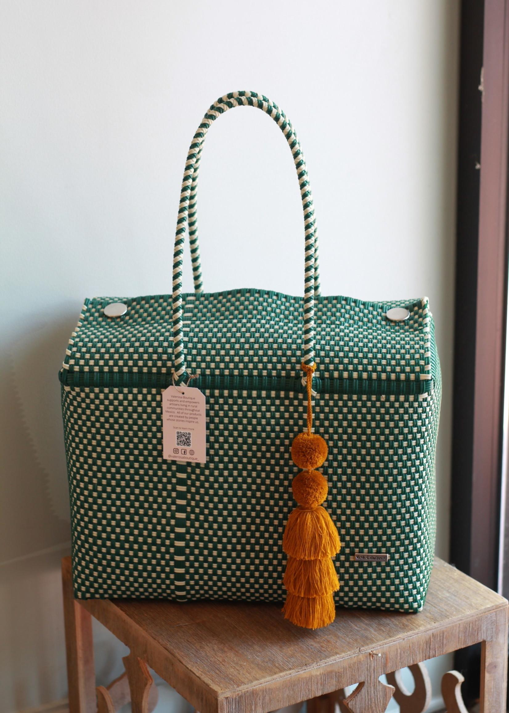Valerosa Boutique Valerosa  Evergreen Dia Duffle Bag With Gold Tassel