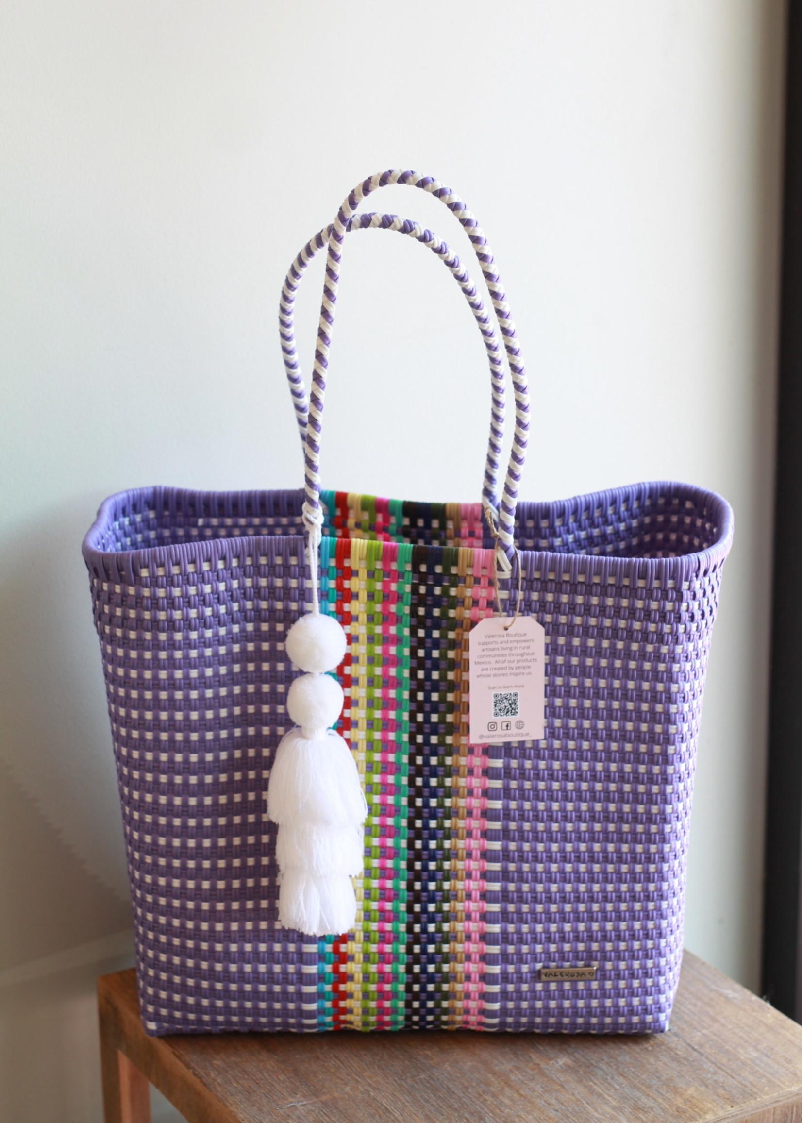 Valerosa Boutique Valerosa Lavender Rainbow Playera Tote With White Tassel
