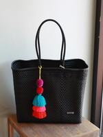 Valerosa Boutique Valerosa Black Playera Tote With Rainbow Tassel