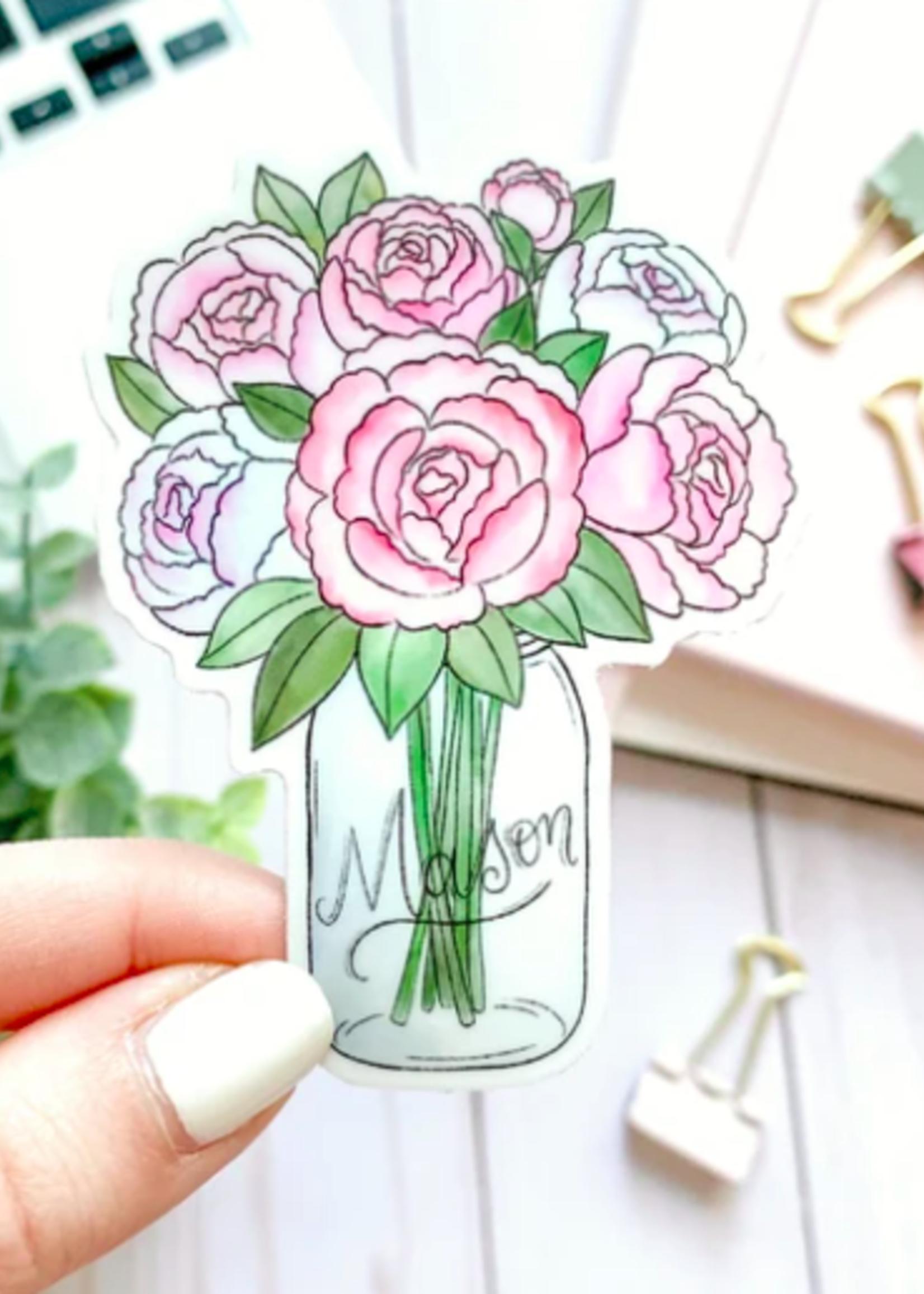 Elyse Breanne Design Mason Jar Peonies Watercolor Sticker