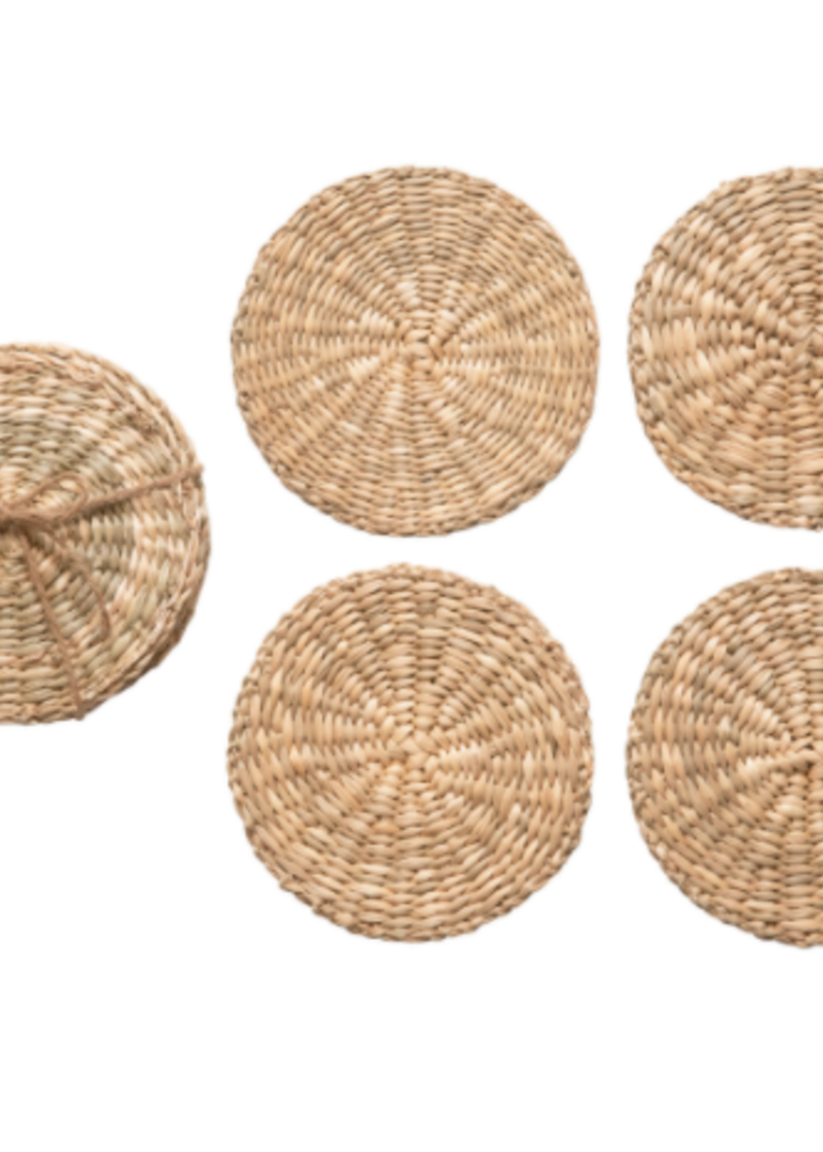 Round Hand-Woven Seagrass Coasters 4 Pack