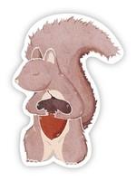 Squirrel With Acorn Sticker