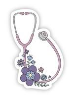 Floral Stethoscope Sticker