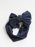 Ribbed Bow Headband- Navy