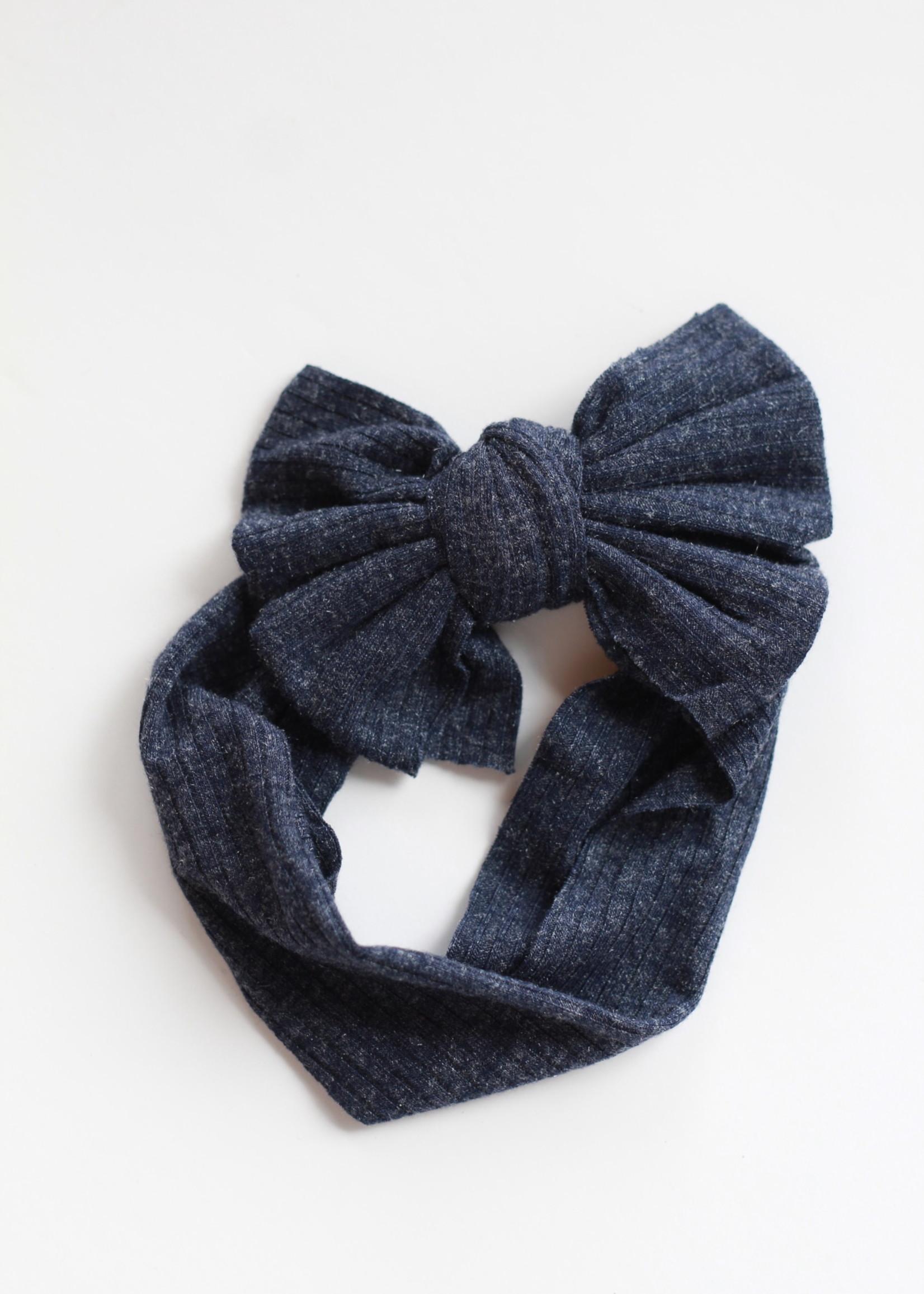 Golden Dot Lane Ribbed Bow Headband- Navy