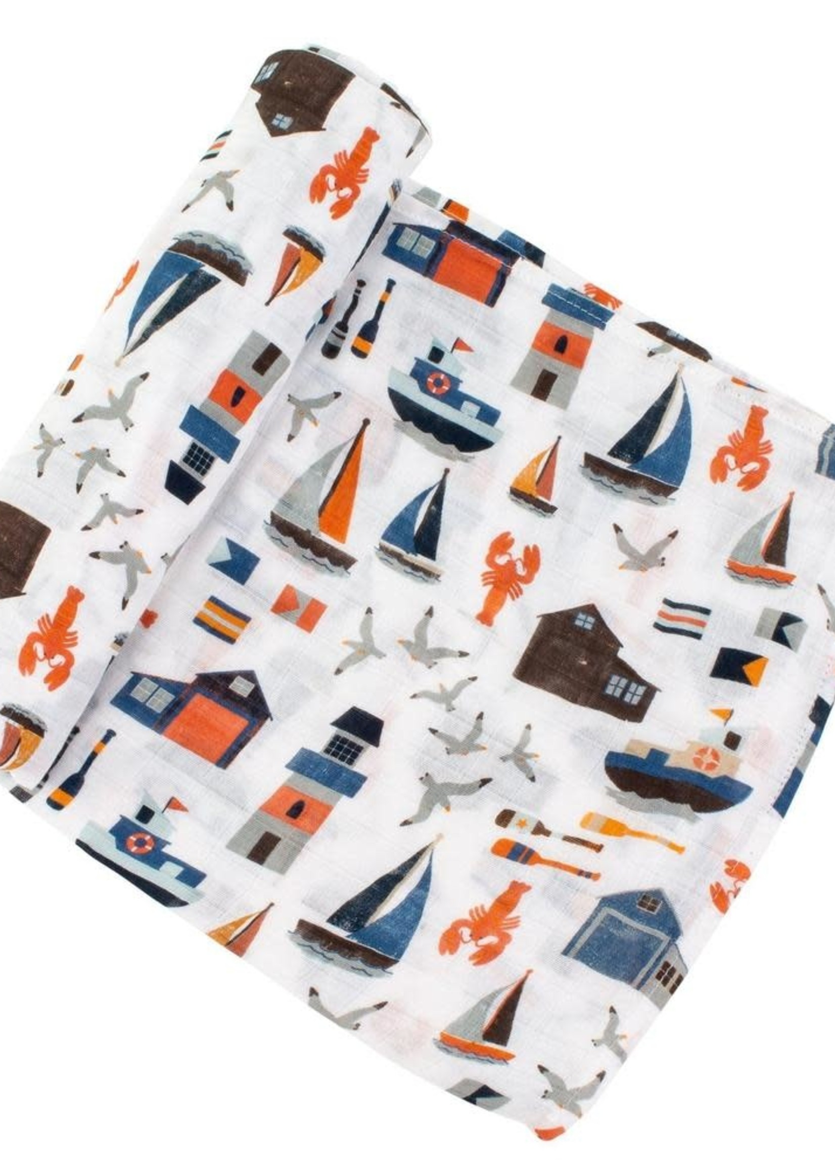 Bebe Au Lait Nautical Oh-So-Soft Muslin Swaddle Blanket
