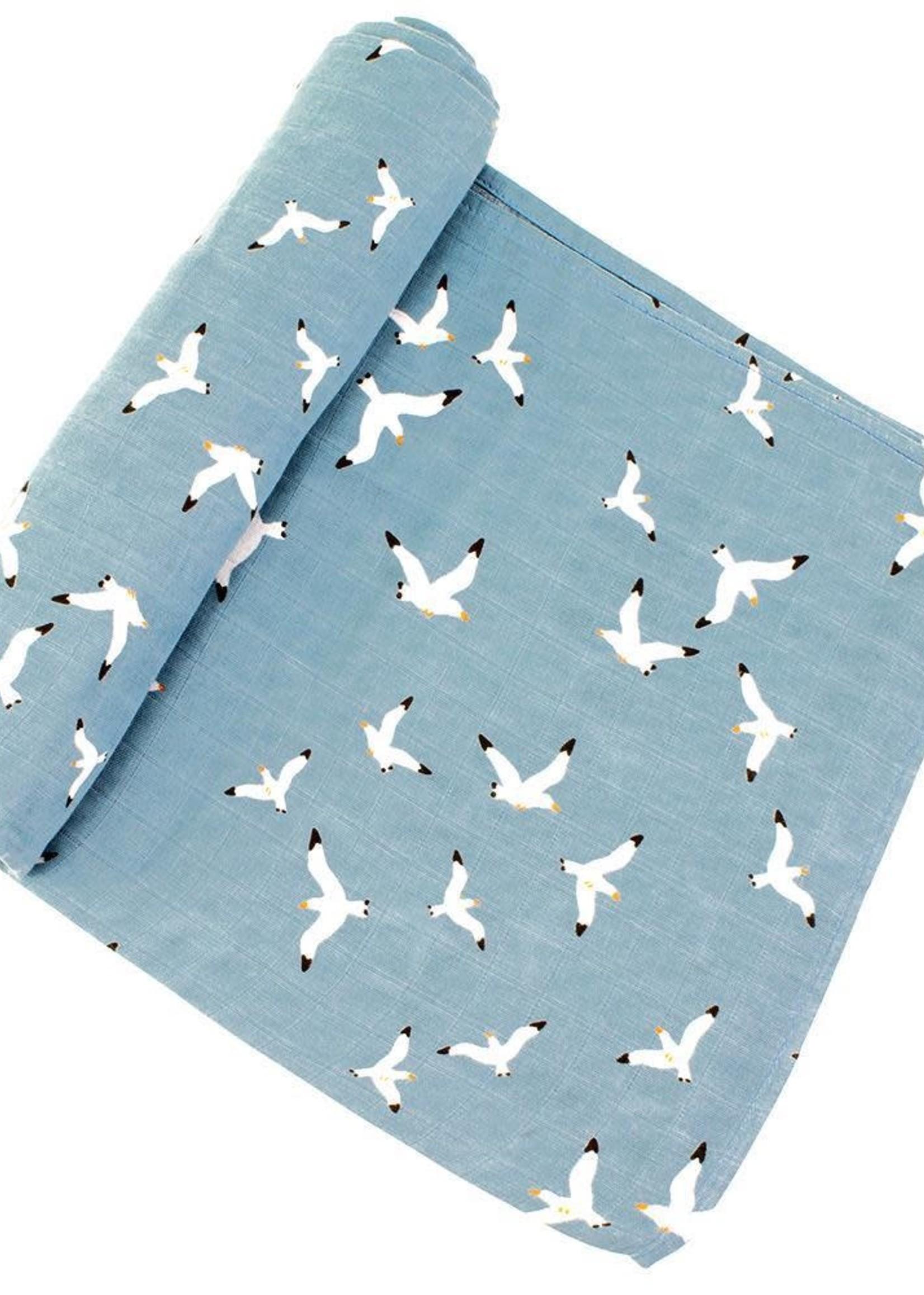 Bebe Au Lait Seagulls Oh-So-Soft Muslin Swaddle Blanket