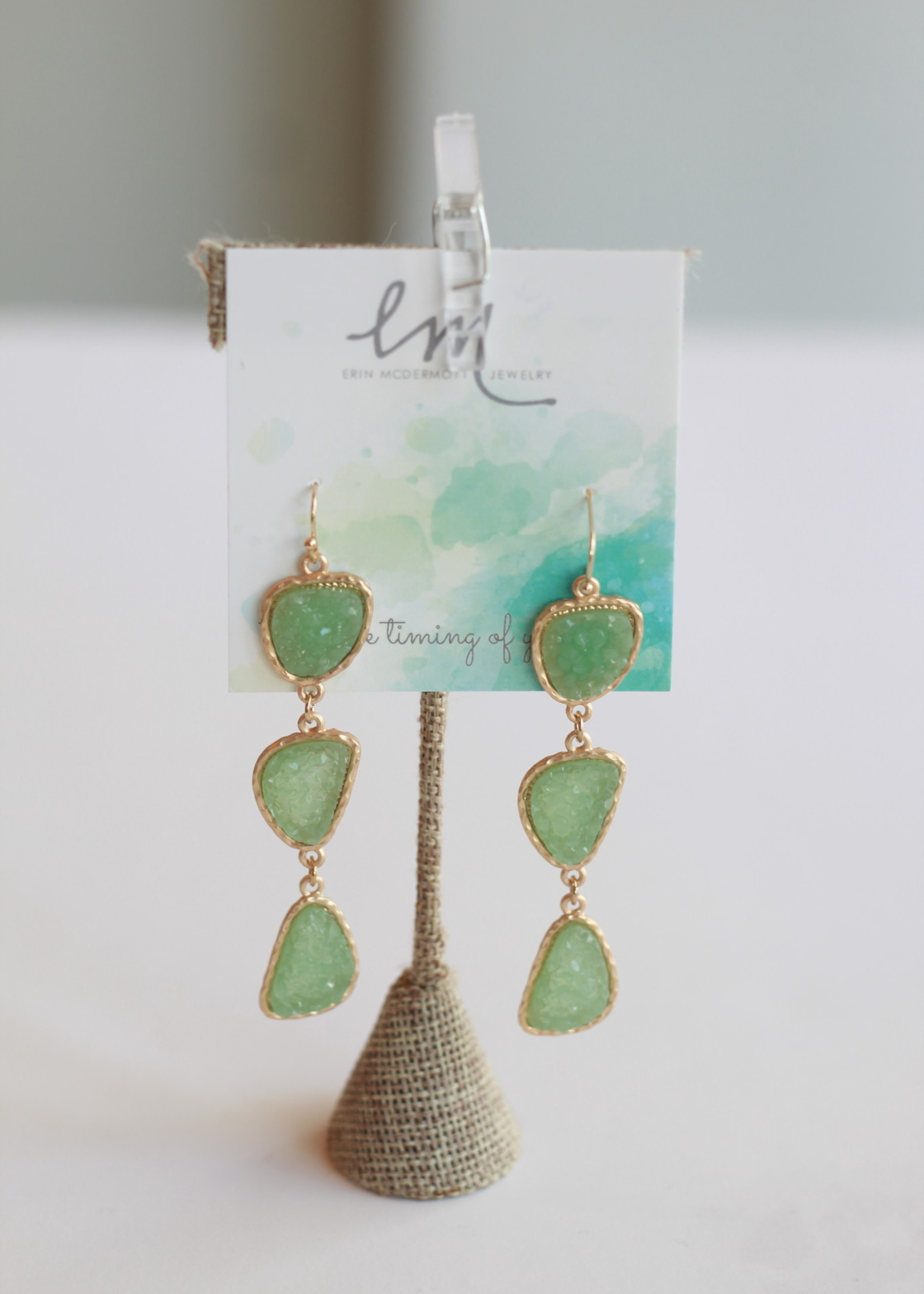 Erin McDermott Three Drop Mint Druzy Earrings