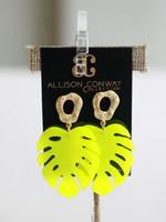 Allison Conway AC Neon Yellow Banana Leaf Earrings