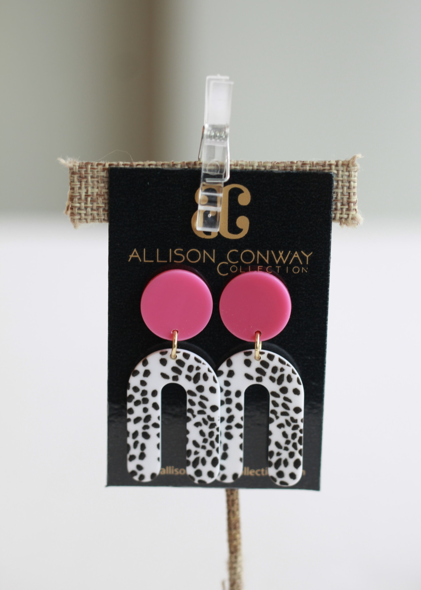 Allison Conway AC Pink Dalmatian Rainbow Earrings